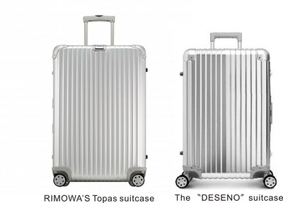 """Luggage manufacturer RIMOWA won legal proceedings against the proprietor of the """"Deseno"""" brand, thus laying down another landmark in defense of its distinguished feature of the brand -""""groove design"""". RIMOWA suitcase vs. Deseno suitcase. (PRNewsFoto/RIMOWA GmbH)"""