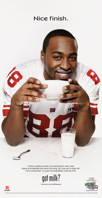 Super Bowl Champion and New York Giant Hakeem Nicks isn't only a champion on the field; he's a champion at the breakfast table too. Nicks starts each day with lowfat milk at breakfast, and today is no different.  (PRNewsFoto/MilkPEP)