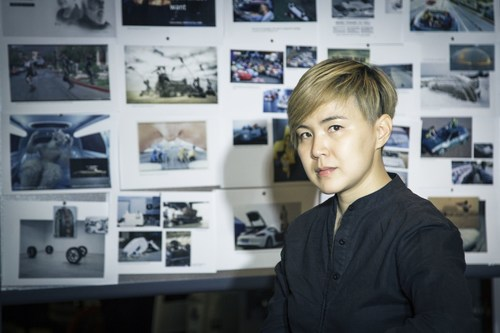 The artist Cao Fei in front of her inspiration wall for the 18th BMW Art Car project (C) The artist, Cao Fei ...
