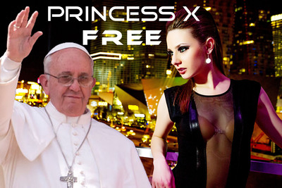 "Manipulated Image: Pope Francis in Princess X's music video ""FREE"".  (PRNewsFoto/Inessa Lee Music)"