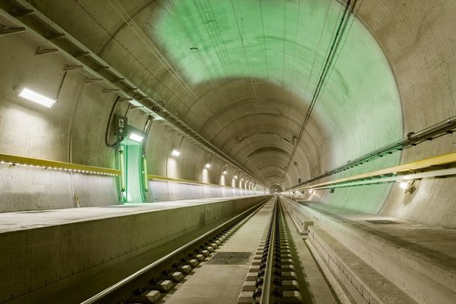 The tracks of the Gotthard base tunnel point to the future of the trans-Alpine railway. (PRNewsFoto/Swiss ...