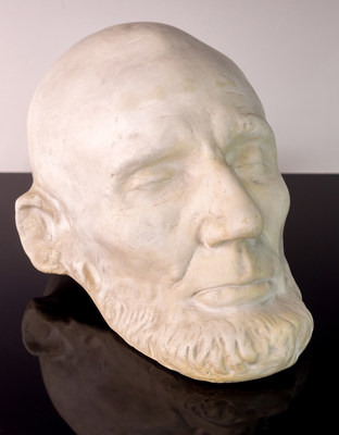 One highlight of J. Levine's September auction is a Clark Mills plaster cast from the original plaster life-mask of President Abraham Lincoln, taken in the White House on February 11, 1865. Lincoln sat for two life-masks, one by sculptor Leonard Volk in April 1860 and the other by sculptor Clark Mills, taken two months before Lincoln's assassination. Mills' mask is the only presidential life mask that portrays Lincoln's entire head, as Volk had left the back open. The three-day auction begins on Thurs...