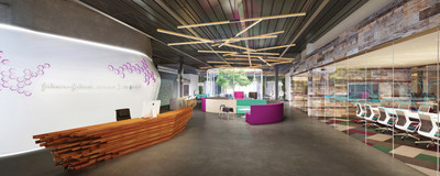The lobby of JLABS @ TMC, the new life sciences incubator from Johnson & Johnson Innovation LCC, in Houston's Texas Medical Center.