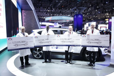 Dr. Richard Aplenc, at far right, of The Children's Hospital of Philadelphia, received a Hyundai Quantum Grant at an award ceremony on March 24. Joining him are the other recipients, from left: Dr. Soheil Meshinchi of the Fred Hutchinson Cancer Research Center, Dr. Duane Mitchell of the University of Florida, and Dr. Loren Walensky of Dana-Farber Cancer Institute.