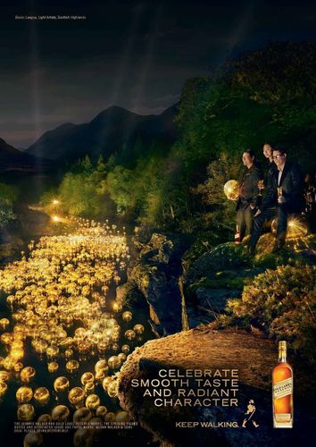 The new Character advert for JOHNNIE WALKER GOLD LABEL RESERVE features pioneering light artists Bionic League ...