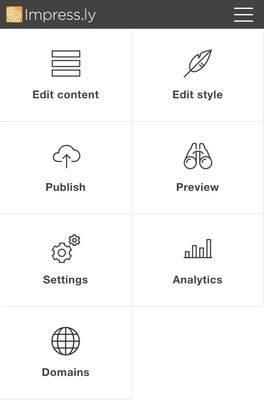 Impress.ly's mobile site editor