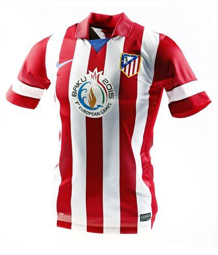 Atlético Madrid's new kit, featuring the Baku 2015 logo (PRNewsFoto/Baku 2015)