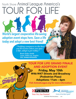 "North Shore Animal League America, in partnership with Purina One(r), will make the final stop for its annual national cooperative life-saving adoption event, Tour For Life, with a Grand Finale celebration in Times Square. Working with more than 100 shelter and rescue groups in 51 cities in 26 states, these ""shelters on wheels"" covered over 17,000 miles and helped save the lives of over 2,000 animals across the country through humane education and mobile adoption events.  (PRNewsFoto/North Shore Animal League America)"
