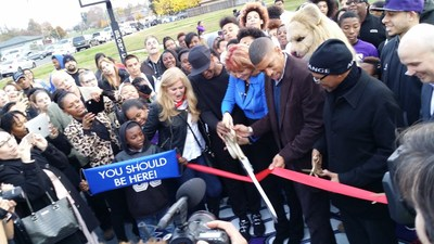 """Sacramento kids to play like Kings on new DreamCourt, thanks to Nancy Lieberman and WorldVentures Foundation. Lieberman cut the ceremonial ribbon on Dec. 9 at Margarette """"Mama"""" Marks park serving Del Paso Heights community, unveiling a two-hoop, 42-by-74-foot DreamCourt with Sport Court's PowerGame(TM) high-performance safety surface and the Kings' purple and gray team colors. Joined by: Sacramento Mayor and former NBA player Kevin Johnson; Councilmember Council District 2 Allen Warren; Foundation Founder, WorldVentures CEO Dan Stammen; Executive Director of the WorldVentures Foundation Gwyneth Lloyd; Sacramento Kings players, dancers, and mascot."""