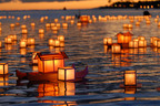 Lanterns are floated out to sea carrying messages of remembrance during Shinnyo-en Buddhists Memorial Day Lantern Floating Ceremony in Honolulu, HI.  (PRNewsFoto/Shinnyo-en)
