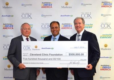 Cox Enterprises' President & CEO John Dyer, Cleveland Clinic Florida's President Dr. Wael Barsoum, AutoNation's President & COO Michael Maroone (PRNewsFoto/The James M. Cox Foundation)