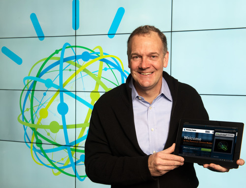 IBM Forms New Watson Group to Meet Growing Demand for Cognitive Innovations. IBM Senior Vice President Mike Rhodin demonstrates a Watson cloud service at IBM Research headquarters in Yorktown Heights, NY, announced on Thurs., January 9, 2014. Mr. Rhodin will lead the IBM Watson Group, a new IBM business unit headquartered in the heart of New York City's Silicon Alley that will develop products and collaborate with start-ups on cloud-based cognitive apps and services powered by Watson. The IBM Watson Group will focus on R&D and commercialization of software, services and apps that think, improve by learning and discover answers. (PRNewsFoto/IBM) (PRNewsFoto/IBM)