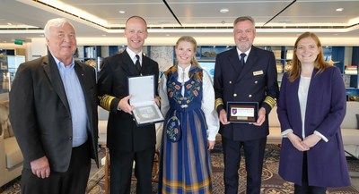 Viking Cruises founder and chairman, Torstein Hagen, celebrates arrival of the company's new ship, Viking Sea, in five new Norwegian ports with commemorative plaque ceremonies attended by local officials. Pictured (left to right): Viking Cruises founder and chairman Torstein Hagen, Bodo Port Director Ingvar Mathisen, Visit Bodo's Solveig Caroline Henriksen, Viking Cruises Captain Gulleik Svalastog and Bodo Mayor Ms. Ida Maria Pinnerod.