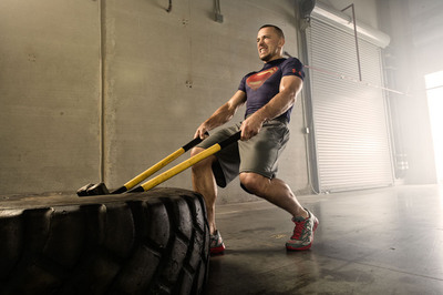 """Georges St. Pierre, UFC Fighter, trains in Under Armour Alter Ego """"Man of Steel"""" baselayer T."""