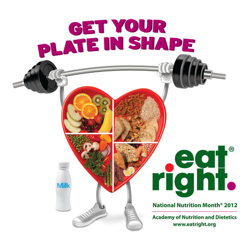 "March is National Nutrition Month. The Academy of Nutrition and Dietetics encourages everyone to ""Get Your Plate in Shape."".  (PRNewsFoto/Academy of Nutrition and Dietetics)"