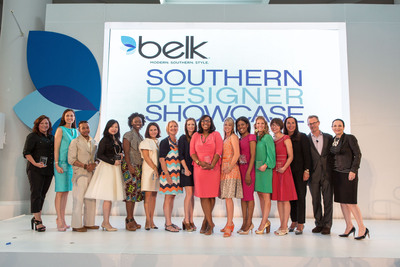 Belk names thirteen designers as winners in their 2013 Southern Designer Showcase Competition. Pictured are all winning designers with Belk executives Kathryn Bufano, Tim Belk and Arlene Goldstein. Photo courtesy of Jeff Cravotta.