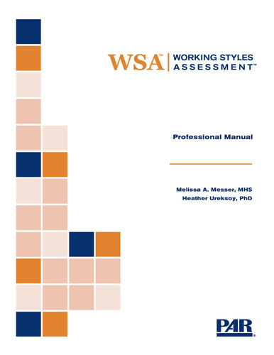 Working Styles Assessment is now available for matching an individual's working styles with workplace ...
