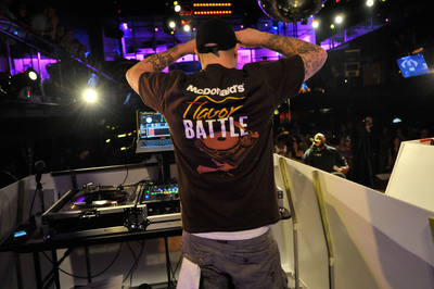McDonald's Flavor Battle, hosted by celebrity DJ Funkmaster Flex, has begun with 12 DJs representing a U.S. region and one of McDonald's new Quarter Pounder burgers -- the Bacon and Cheese Quarter Pounder (East Coast), Deluxe Quarter Pounder (Central) and Bacon Habanero Ranch Quarter Pounder (West Coast). Music and burger lovers can vote daily at www.FlavorBattle.com for their favorite flavor master to advance to the live finale event in New York City. Each vote qualifies consumers for a chance to win a cash grand prize and Flavor Battle DJ equipment.  (PRNewsFoto/McDonald's USA)