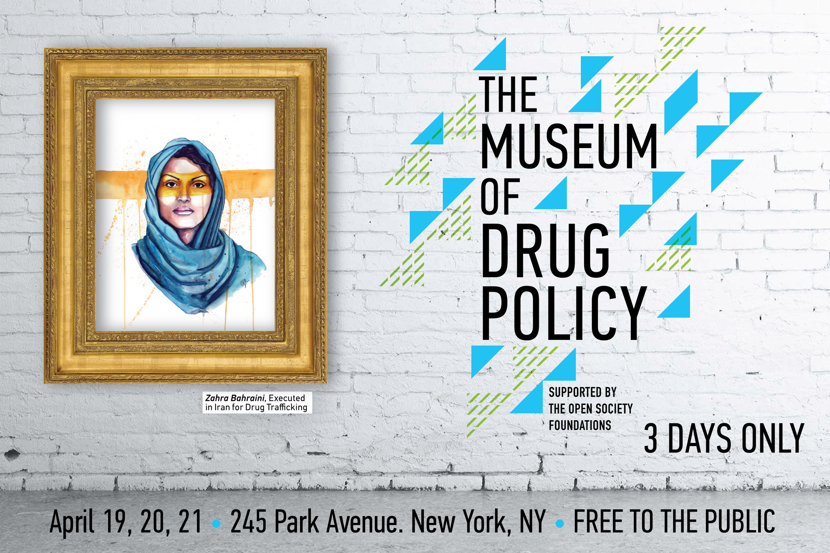3 DAYS ONLY! FREE! Museum of Drug Policy featuring 40 artists, powerful programs and special guests. 245 Park Ave., NYC.