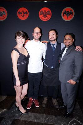 Winners of New York USBG Legacy Cocktail Showcase sponsored by BACARDI, Milos Zica and Takeshi Uzuka with BACARDI Brand Master, David Cid and BACARDI Brand Apprentice, April Wachtel.  (PRNewsFoto/BACARDI)