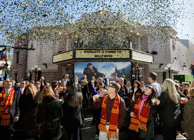 Warner Bros., Universal Parks and Resorts and honored guests celebrated today's partnership announcement to bring The Wizarding World of Harry Potter - the enormously popular themed entertainment environment which debuted in Orlando in June 2010 - to Universal Studios Hollywood, with an official Butterbeer toast. Plans to significantly expand The Wizarding World of Harry Potter at Universal Orlando Resort were also announced. Inspired by J.K. Rowling¿s compelling stories and characters, The Wizarding World of Harry Potter features multiple themed attractions, shops and a restaurant - all faithful to the films.    (PRNewsFoto/Universal Parks & Resorts)