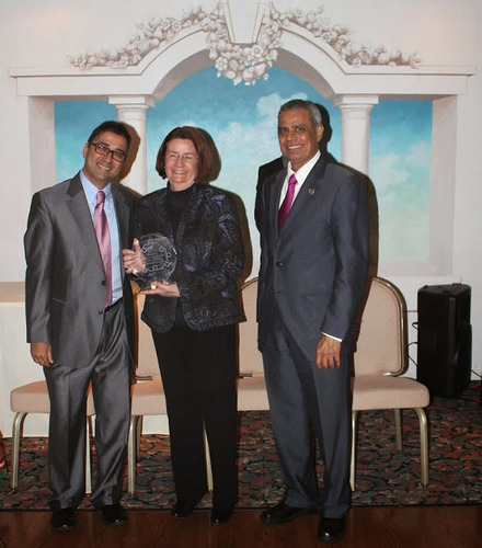 Ms. Carol Markowitz, Eden Autism Services COO with Nish Parikh, WebTeam CEO and Upendra Chivukula, Deputy Speaker of the NJ Assembly. (PRNewsFoto/WebTeam Corporation) (PRNewsFoto/WEBTEAM CORPORATION)