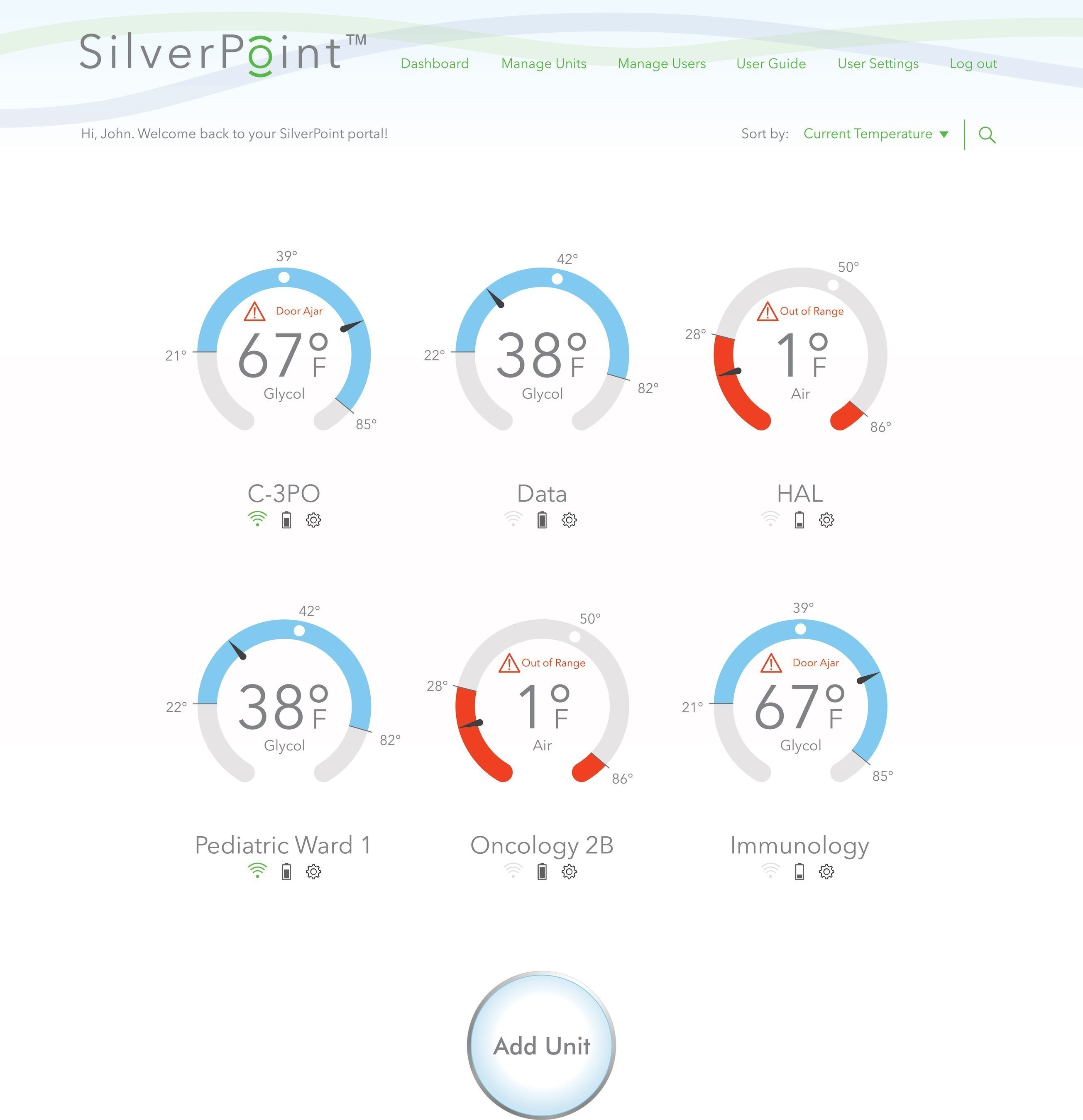 SilverPoint is a secure database providing remote access to regular temperature readings and alert events for all connected units.