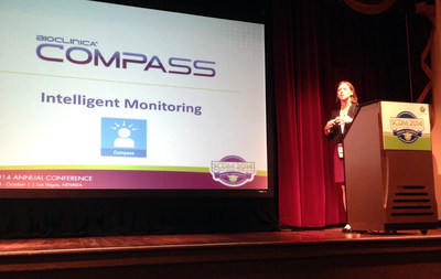 Courtney McBean, Vice President of Clinical Innovation, presents BioClinica's Compass to the SCDM Audience as part of the NextGen Awards competition. (PRNewsFoto/BioClinica, Inc.)