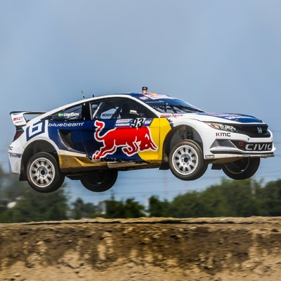 Honda Olsbergs MSE drivers Sebastian Eriksson and Joni Wiman captured a double-podium finish in Red Bull Global Rallycross competition on Saturday at Evergreen Speedway.