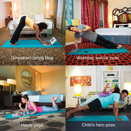 Kimpton's playful hang tags accompany every in-room yoga mat to add fun inspiration to help guests feel ...