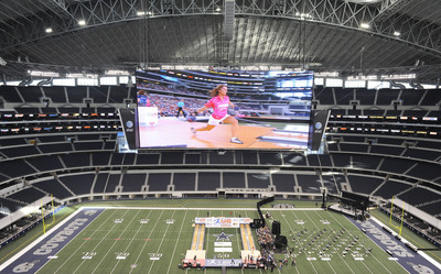 Bowling Goes Big Time in Big D: Overhead View of the 2011 Bowling's US Women's Open, Played at the 50 Yard Line of Dallas Cowboy Stadium.  (PRNewsFoto/International Bowling Campus, Matt Strasen)