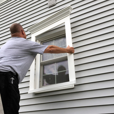 ClipTrim comes pre-assembled and installs over the existing vinyl siding.
