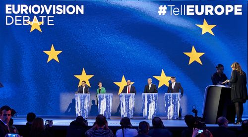 The five European Commission Presidency candidates take their places ahead of the EUROVISION DEBATE ...