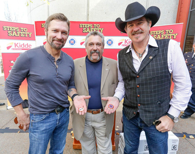 From left to right: Craig Morgan, country music singer, Ron Siarnicki, executive director of the National Fallen Firefighters Foundation and Kix Brooks, country music singer. Craig, Ron and Kix encourage everyone to take simple steps to safety and be a safety hero. Learn more at www.Kidde.com. (PRNewsFoto/Kidde) (PRNewsFoto/KIDDE)