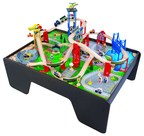 Super Expressway Train Set and Table: Customizable wooden set full of fun, interactive accessories. Ages 3 Years ; Available in BJ's Wholesale Clubs and on BJs.com
