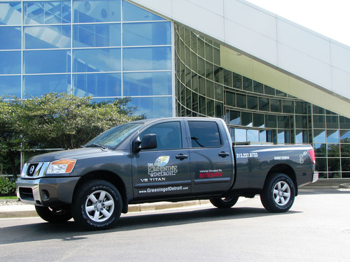 Nissan Supports Greening of Detroit by Donating a Nissan Titan truck to be used to transport trees and planting  ...
