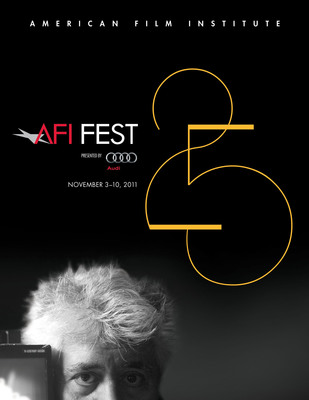 The official poster of AFI FEST 2011 presented by Audi celebrating the festival's 25th edition and Guest Artistic Director Pedro Almodovar.  (PRNewsFoto/American Film Institute)