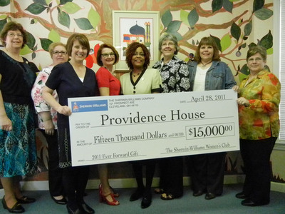 The Sherwin-Williams Women's Club Celebrating 100 years of Dedicated Service. Awards Cleveland's Providence House a $15,000 gift for Children in Crisis.  l-r: Shannon Stefanko, Linda Torgerson, S-W Women's Club President Karen Heil, Natalie Leek-Nelson, Providence House CEO, Yvonne Carty, Debbie Bahr, Lori Kulp, Barb Jiberno.  (PRNewsFoto/Sherwin-Williams Company)