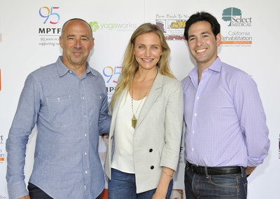 Cameron Diaz, actress and New York Times bestselling author of The Longevity Book, joined  Motion Picture & Television Fund (MPTF) on June 10 to celebrate health and fitness with more than 500 active and retired entertainment industry professionals. She is pictured here with (left) MPTF President & CEO Bob Beitcher and (right) Scott Kaiser, MD, the event organizer, a practicing geriatrician and Chief Innovation Officer at MPTF.