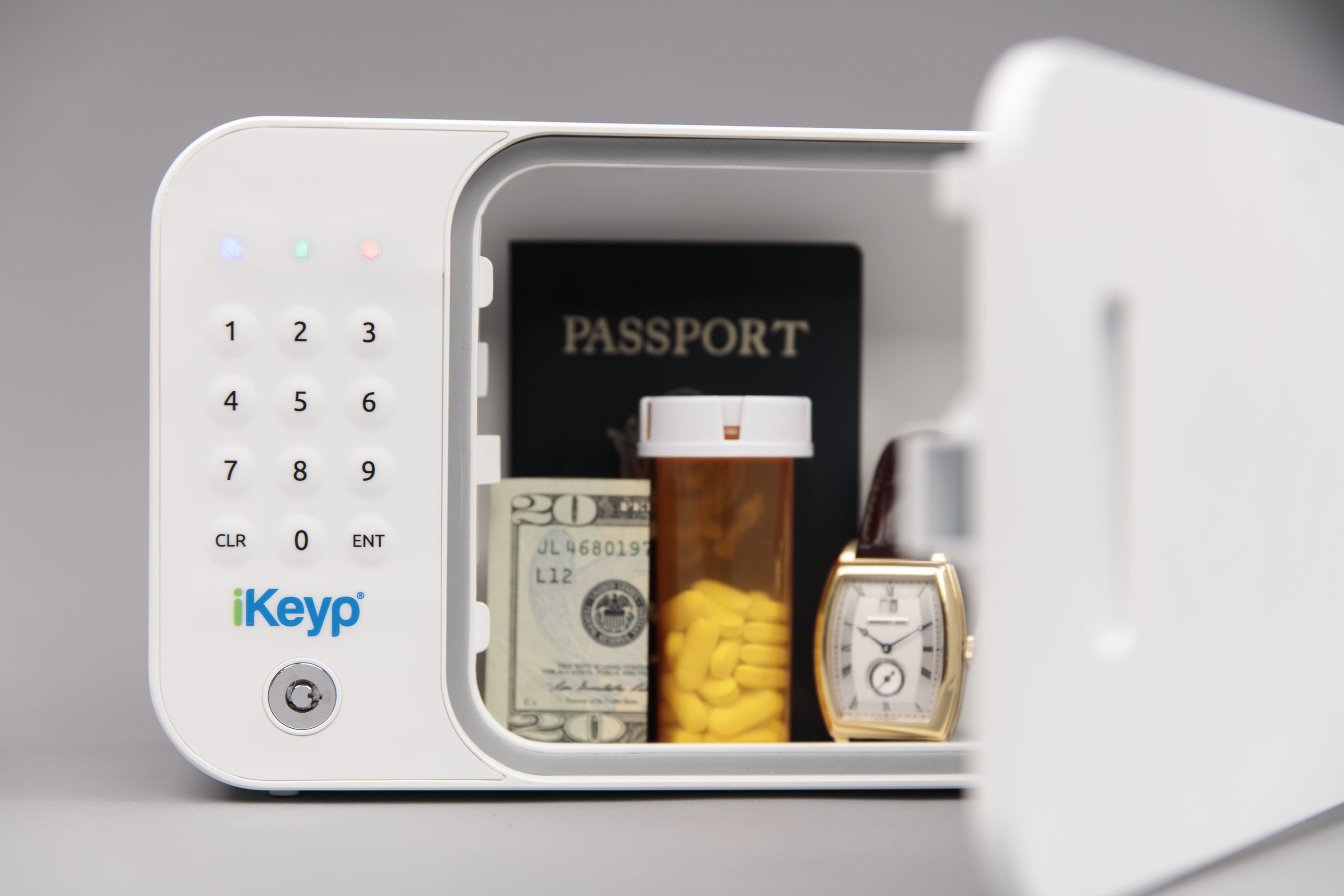 The iKeyp's interior compartment can hold up to eight prescription bottles, as well as personal items such as jewelry, money, credit cards and sensitive items such as identification documents.