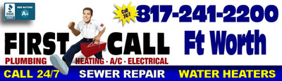 Top choice for plumbing repairs in the Ft Worth TX area. First Call Plumbers are licensed by Texas, insured and rated A+ by the BBB.  (PRNewsFoto/First Call Plumbing)