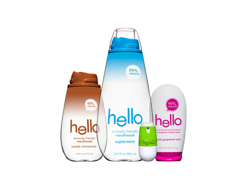 hello(TM), the first-ever seriously friendly(TM) oral care line, greets the world with 99% natural, 100% nice(TM) toothpastes, mouthwashes and breath sprays in distinctive, gorgeous designs created by BMW Group DesignworksUSA. hello promises a friendly mouth, and features products with no harsh chemicals, artificial colors, alcohol or pain, in four delectable flavors: Supermint, Pink Grapefruit Mint, Mojito Mint and Sweet Cinnamint. Available nationwide in Walgreens and Duane Reade stores, with additional retailers to follow. Visit www.hello-products.com for more information. (PRNewsFoto/Hello Products LLC) (PRNewsFoto/HELLO PRODUCTS LLC)