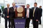 Aberdeen Asset Management expanded its global footprint yesterday with the opening of a new office in New York City. Pictured left to right are Aberdeen Chairman, Roger Cornick, British Ambassador, Sir Peter Westmacott, Aberdeen Chief Executive, Martin Gilbert and Gary Marshall, Aberdeen's Head of Americas.  (PRNewsFoto/Aberdeen Asset Management Inc.)