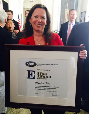 "NuStep, Inc., a manufacturer of fitness equipment based in Ann Arbor, Mich., received the President's ""E"" Star Award today in Washington, DC. Presented by Secretary of Commerce Penny Pritzker, the award is for continued superior performance in increasing or promoting exports. The company previously won the President's ""E"" Award in 2012. Elena Stegemann, director of international business at NuStep, traveled to Washington to accept the award."