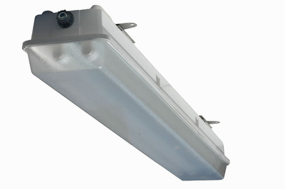 The HALP-EMG-48-2L-LED-G2 hazardous area fluorescent light fixture is designed for use in wet areas and saltwater-marine environments where corrosion resistance is critical to equipment longevity and safety. This Class 1 Division 2 rated fixture is constructed of non-corrosive materials including a polyester housing reinforced with glass fiber, a poured in gasket for reliable sealing and an impact resistant acrylic diffuser. Corrosion resistant stainless steel latches secure the lamp cover to the housing and provide a firm lock against the poured in seal to prevent drips and water intrusion.  (PRNewsFoto/Larson Electronics)