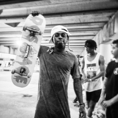 Lil Wayne skating Parisite Skate Park after the donation of obstacles with OC Ramps.