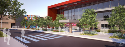 ERO Architects' rendering of the new Furr High School in the Houston Independent School District. The new 1,300-student high school will replace the 54-year-old current building and bring it up to 21st century learning environment standards. The design of the school includes collaborative and project-based learning environments.