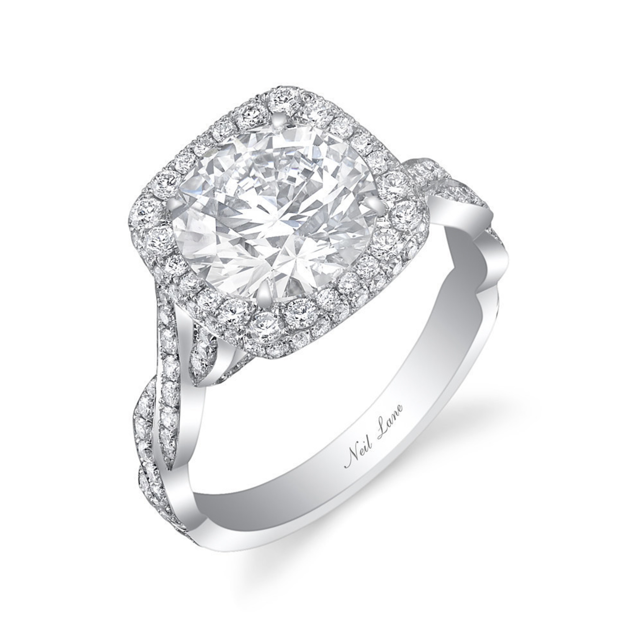 The platinum diamond ring is set with a central round brilliant cut diamond surrounded by 160 smaller diamonds to an entwined diamond band. Approximate total diamond weight is 3.5 carats. Hand crafted, signed and designed by Neil Lane.