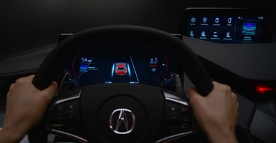 In automated mode, the driver's display displays other cars and road objects recognized by the vehicle's advanced sensors.