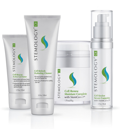 Stemology Skincare, the world's first and only skincare line to use plant and human adult stem cell technology, launches. www.stemologyskincare.com.  (PRNewsFoto/DermaTech Research Laboratories)